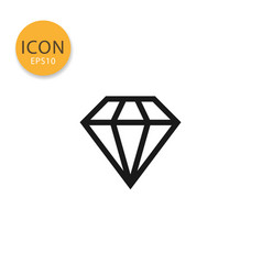 Diamond icon isolated flat style vector
