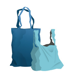disposable plastic bag package with handles empty vector image