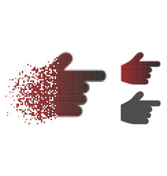 Dissolving pixelated halftone pointer finger icon vector