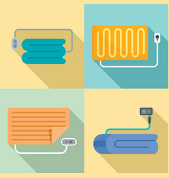 Electric blanket icon set flat style vector