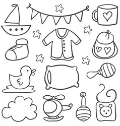 element baby theme of doodles vector image