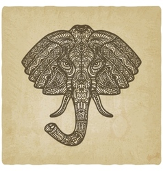 elephant hand drawn pattern old background vector image