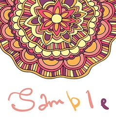 Ethnic floral card with place for text color vector