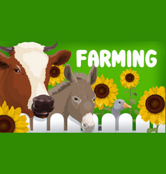 farm cow goose and donkey animals vector image