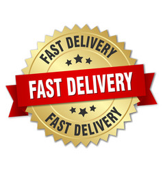 Fast delivery 3d gold badge with red ribbon vector