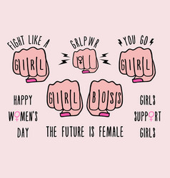 female fist girl power girl boss set design vector image