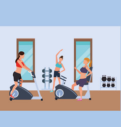 Fitness people and gym vector