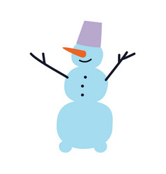 flat cheerful snowman vector image