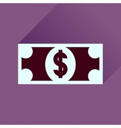 Flat icon with long shadow dollar banknote vector