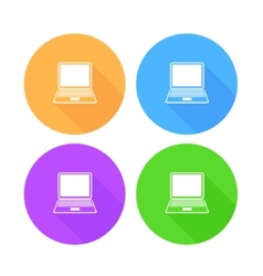 Flat long shadow laptop icons set vector image