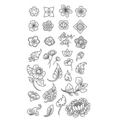 flower and leaf line clip arts vector image