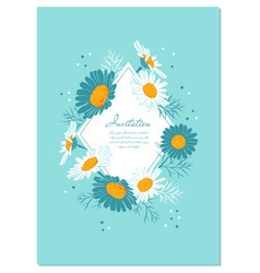 Flowers card chamomile background daisy wreath vector