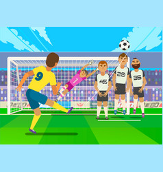 Football player kicking penalty vector
