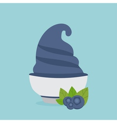 frozen yogurt in the cup with blueberry design vector image
