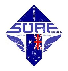 Gold coast Australia surf rider t-shirt vintage vector