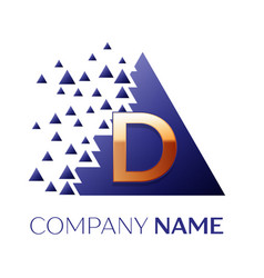 golden letter d logo symbol in blue pixel triangle vector image