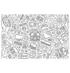 hand drawn smart home set doodle background vector image