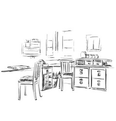 hand drawn workplace chair and table sketch vector image