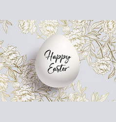 happy easter card background a golden floral vector image