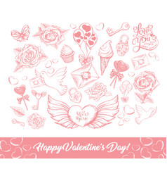 happy valentines day sketch vector image