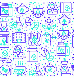 Herbal therapy seamless pattern vector