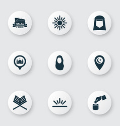 Holiday icons set includes icons such as dawn vector