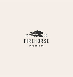 horse fire logo icon hipster vintage retro vector image