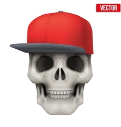 Human skull with rap cap on head vector image