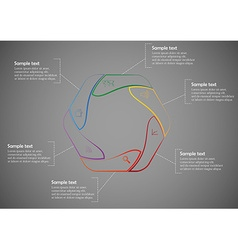 Infographic consists of six parts from lines vector