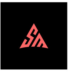 initial letter sm linked triangle design logo vector image
