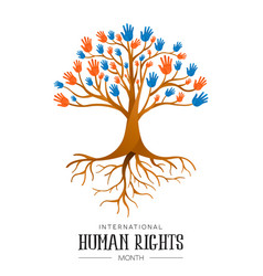 International human rights people hands tree vector
