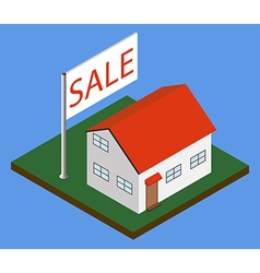 Isometric house with sale banner vector