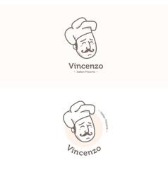 Italian cook head mascot logotype Pizzeria vector image