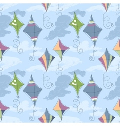 Kites over blue sky seamless pattern vector