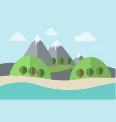 Landscape water trees vector