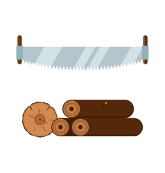 Lumberjack saw and wood tools icons vector image