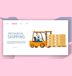male worker shipping goods on tray by forklift car vector image