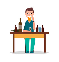 Man sitting by table with lot of alcohol drinks vector
