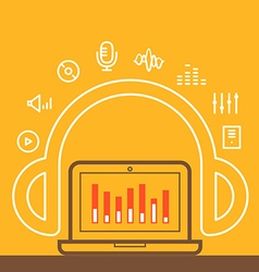 Modern computer media with different icons vector image
