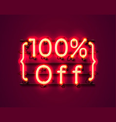 neon frame 100 off text banner night sign board vector image