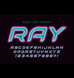 Neon light alphabet multicolored extra glowing vector