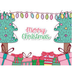 Pine trees with lights and chritsmas presents vector