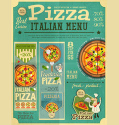 pizza italian menu vector image