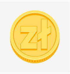 polish zloty symbol on gold coin vector image