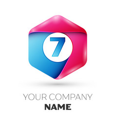 Realistic number seven logo in colorful hexagonal vector