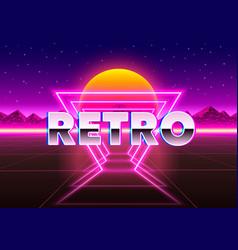 Retro neon city background neon style 80s vector