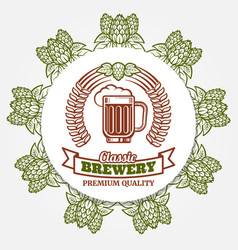 Round beer banner with hops and beer label vector