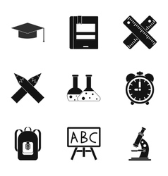 Schooling icons set simple style vector