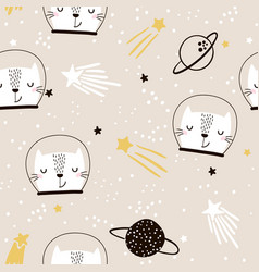 Seamless childish pattern with cute cats vector