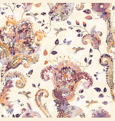 Seamless paisley background floral pattern vector